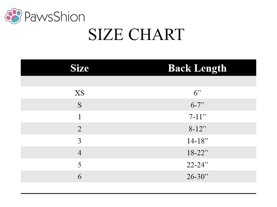 Pawsshion size chart