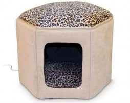 K&H Pet Products Thermo-Kitty Sleephouse Tan / Leopard