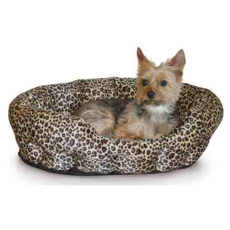 self warming pet bed in brown leopard
